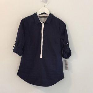 NWT! Zara Navy Blouse